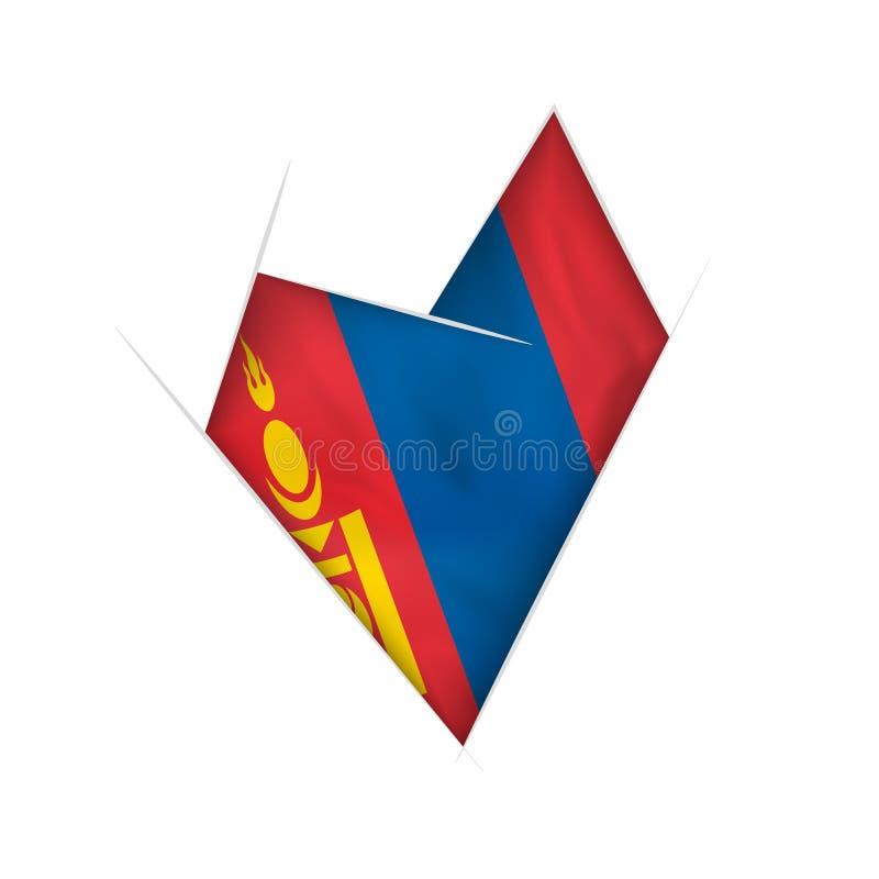 Coração curvado esboçado com bandeira de Mongólia ilustração royalty free