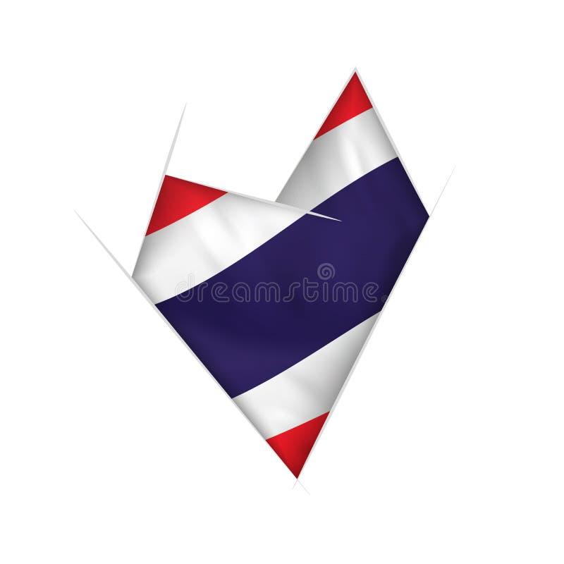 Coração curvado esboçado com bandeira de Tailândia ilustração stock