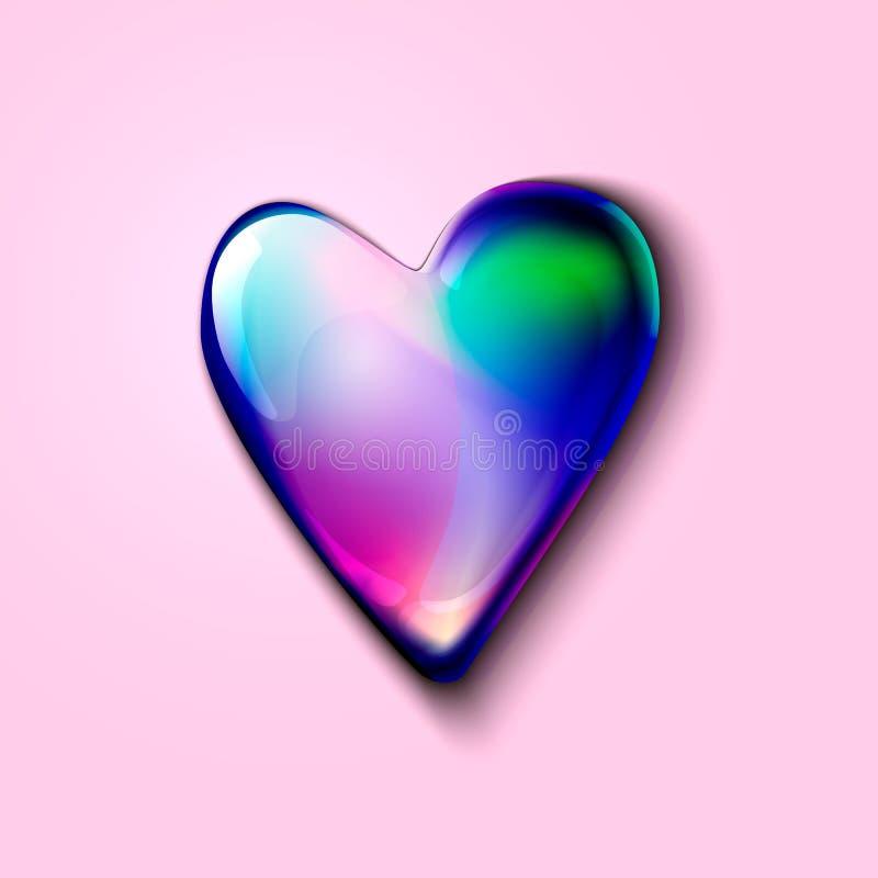 coração 3D holográfico realístico para o anúncio e a Web coração volumétrico holográfico para cartões do dia de Valentim hea 3D h ilustração stock