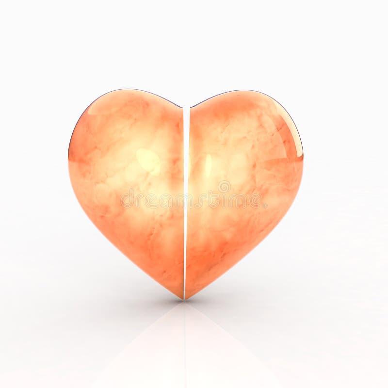 coração 3D no fundo branco ilustração stock