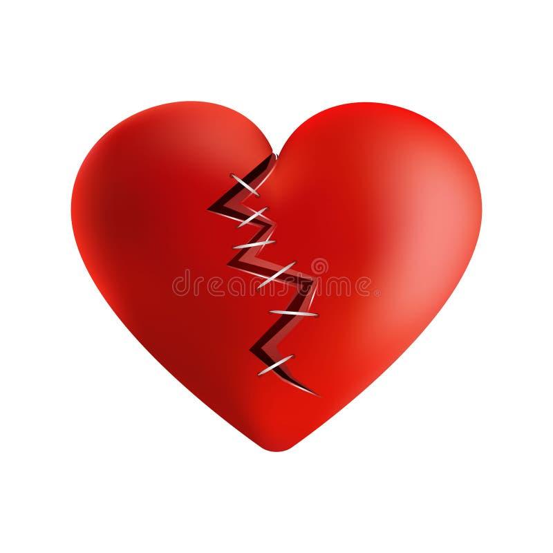 coração 3D quebrado em morno ilustração do vetor