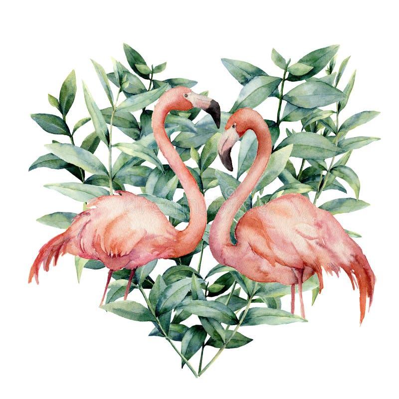 Coração da aquarela com as folhas cor-de-rosa do flamingo e do eucalipto Flamingo cor-de-rosa pintado à mão e folhas isolados no  ilustração royalty free