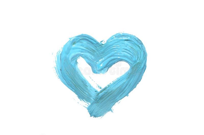 Coração da aquarela da cor azul em um fundo branco isolado Manchas da pintura de óleo sob a forma de um coração imagem de stock