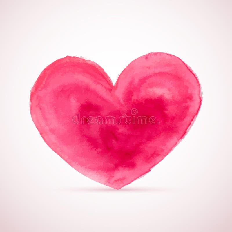 Coração da aquarela do vetor para projetos do dia de Valentim ilustração do vetor