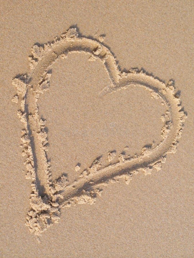 Coração da areia imagens de stock royalty free