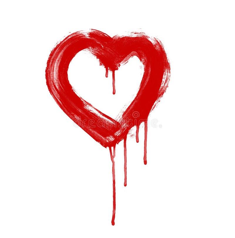 Coração da arte desenhado com pintura na parede fotografia de stock