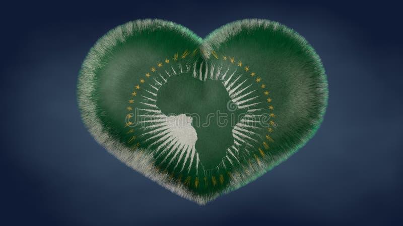 Coração da bandeira de África ilustração do vetor