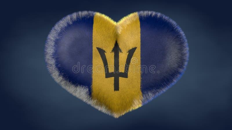Coração da bandeira de Barbados ilustração stock