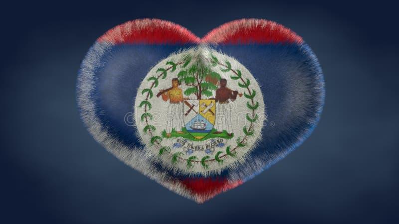 Coração da bandeira de Belize ilustração stock