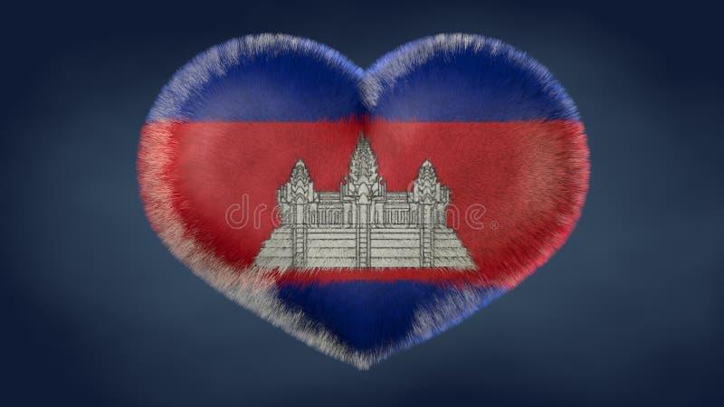 Coração da bandeira de Camboja ilustração do vetor