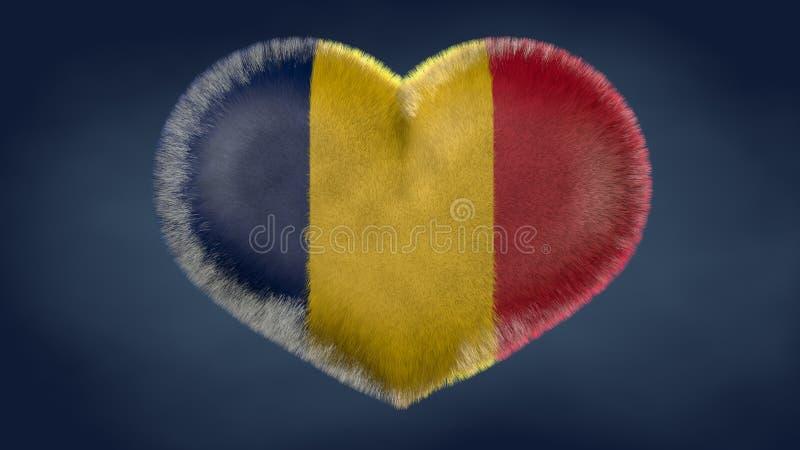 Coração da bandeira de Chade ilustração royalty free