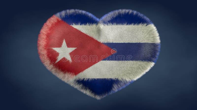 Coração da bandeira de Cuba ilustração stock