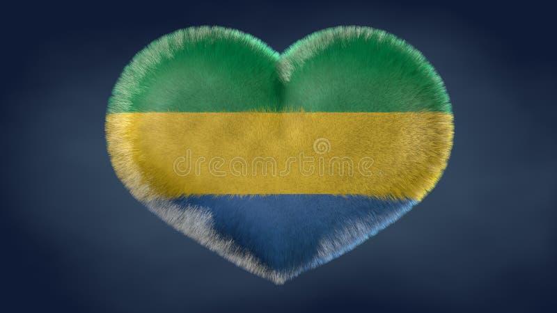 Coração da bandeira de Gabão ilustração do vetor