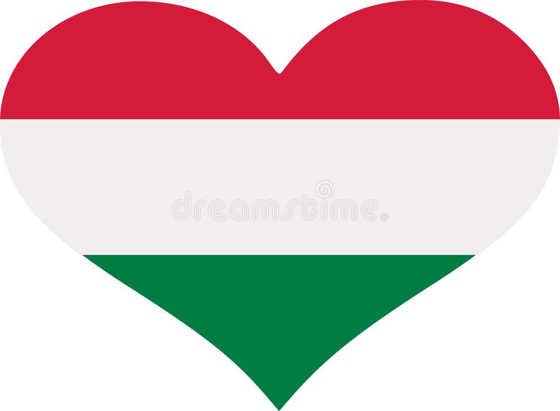 Coração da bandeira de Hungria ilustração royalty free