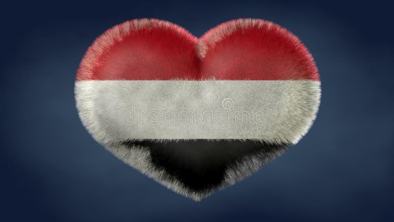 Coração da bandeira de Iémen ilustração do vetor