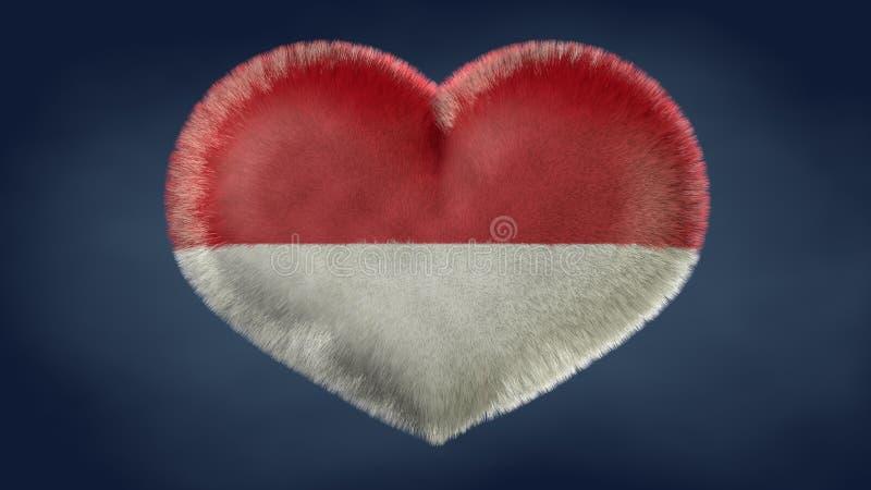 Coração da bandeira de Indonésia ilustração stock