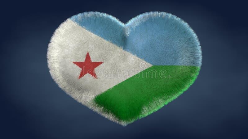 Coração da bandeira de Jibuti ilustração stock