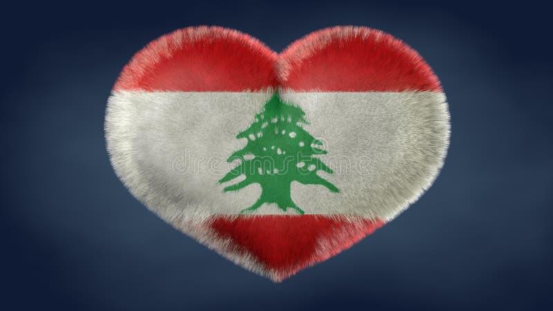 Coração da bandeira de Líbano ilustração stock