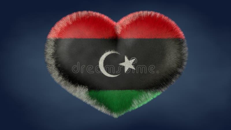 Coração da bandeira de Líbia ilustração do vetor