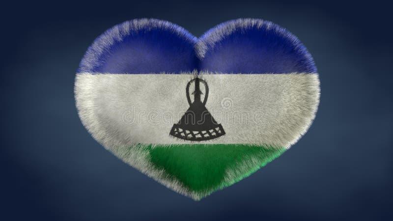 Coração da bandeira de Lesoto ilustração royalty free
