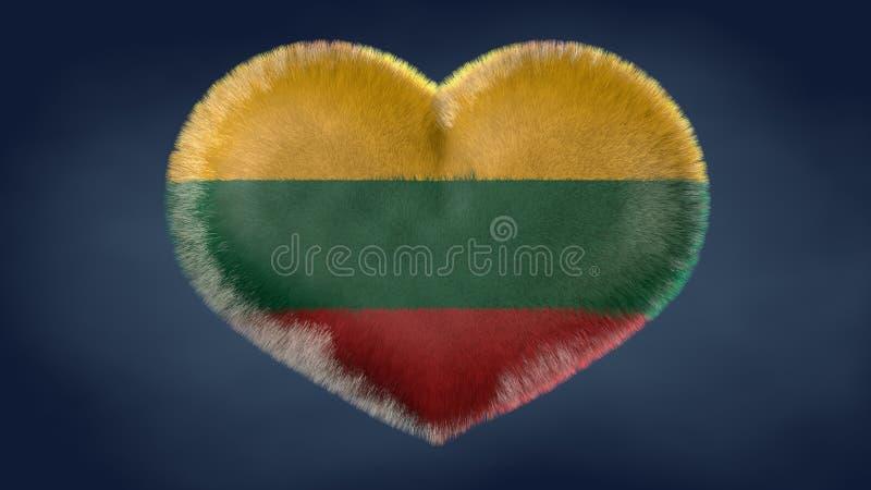 Coração da bandeira de Lituânia ilustração royalty free