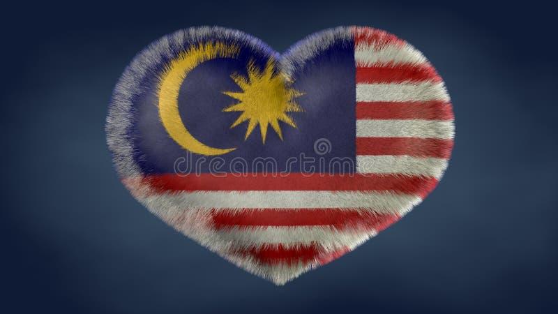 Coração da bandeira de Malásia ilustração do vetor