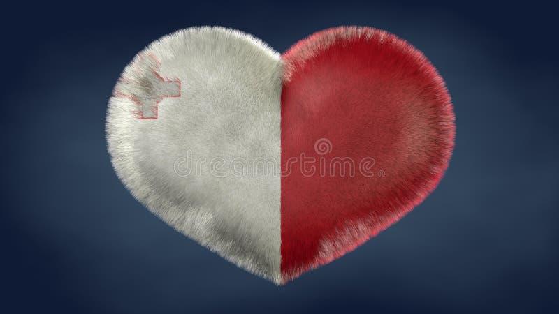 Coração da bandeira de Malta ilustração royalty free