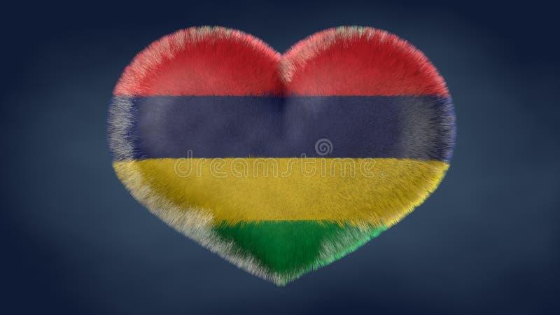 Coração da bandeira de Maurícias ilustração do vetor
