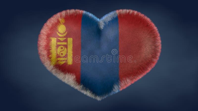 Coração da bandeira de Mongólia ilustração royalty free