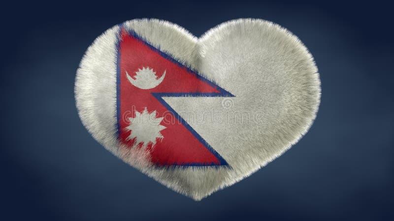Coração da bandeira de Nepal ilustração do vetor