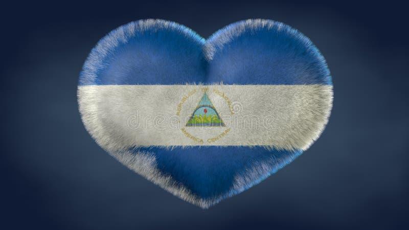 Coração da bandeira de Nicarágua ilustração royalty free