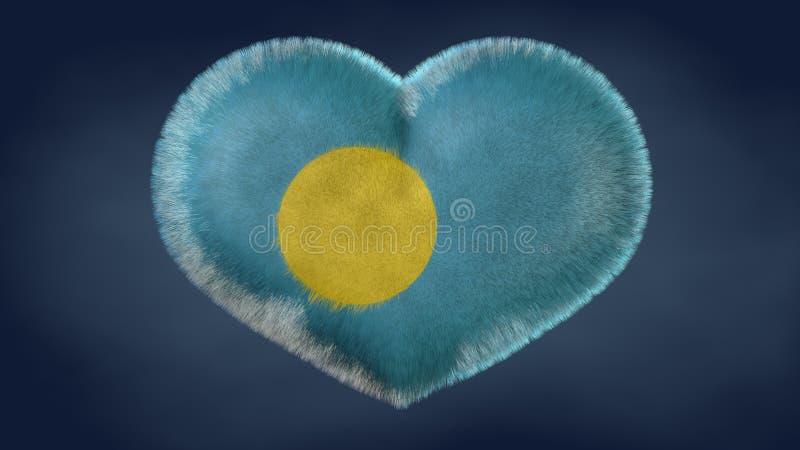 Coração da bandeira de Palau ilustração do vetor