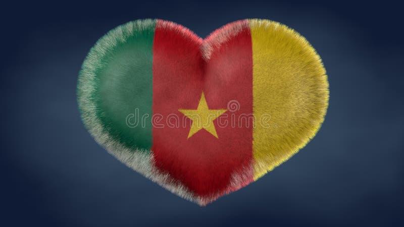Coração da bandeira de República dos Camarões ilustração royalty free