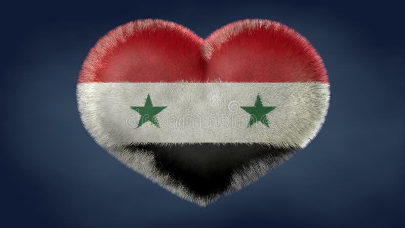 Coração da bandeira de Síria ilustração do vetor