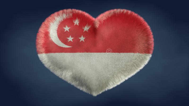 Coração da bandeira de Singapura ilustração royalty free