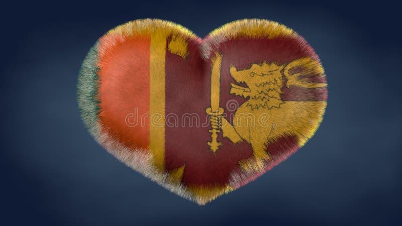 Coração da bandeira de Sri Lanka ilustração royalty free