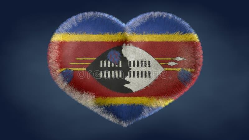 Coração da bandeira de Suazilândia ilustração stock