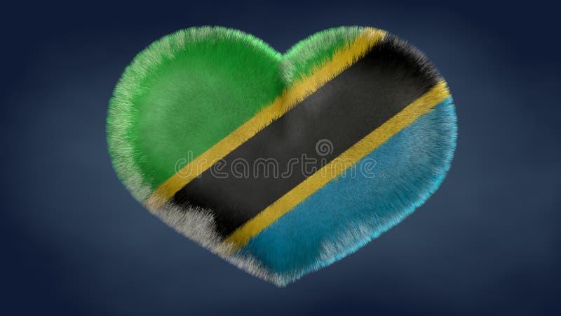 Coração da bandeira de Tanzânia ilustração do vetor