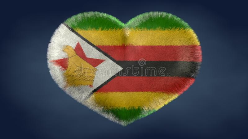 Coração da bandeira de Zimbabwe ilustração do vetor