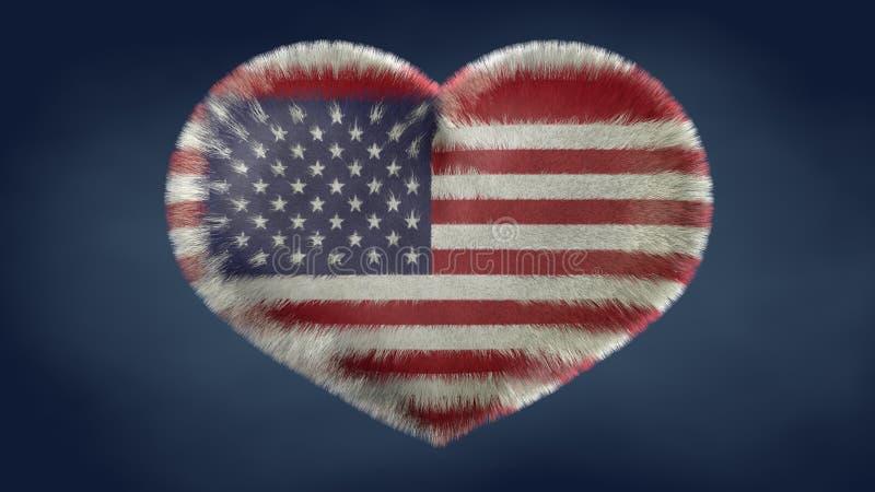 Coração da bandeira do Estados Unidos da América ilustração do vetor