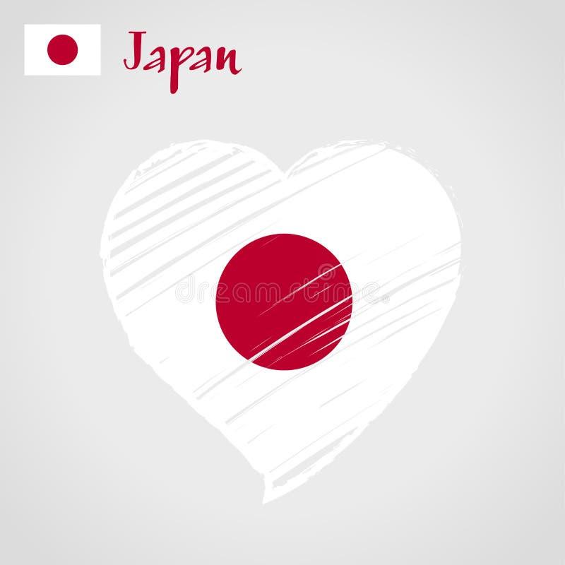 Coração da bandeira do vetor de Japão Círculo do sol Terra do sol de aumentação ilustração do vetor