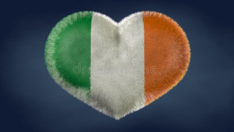 Coração da bandeira da Irlanda ilustração royalty free