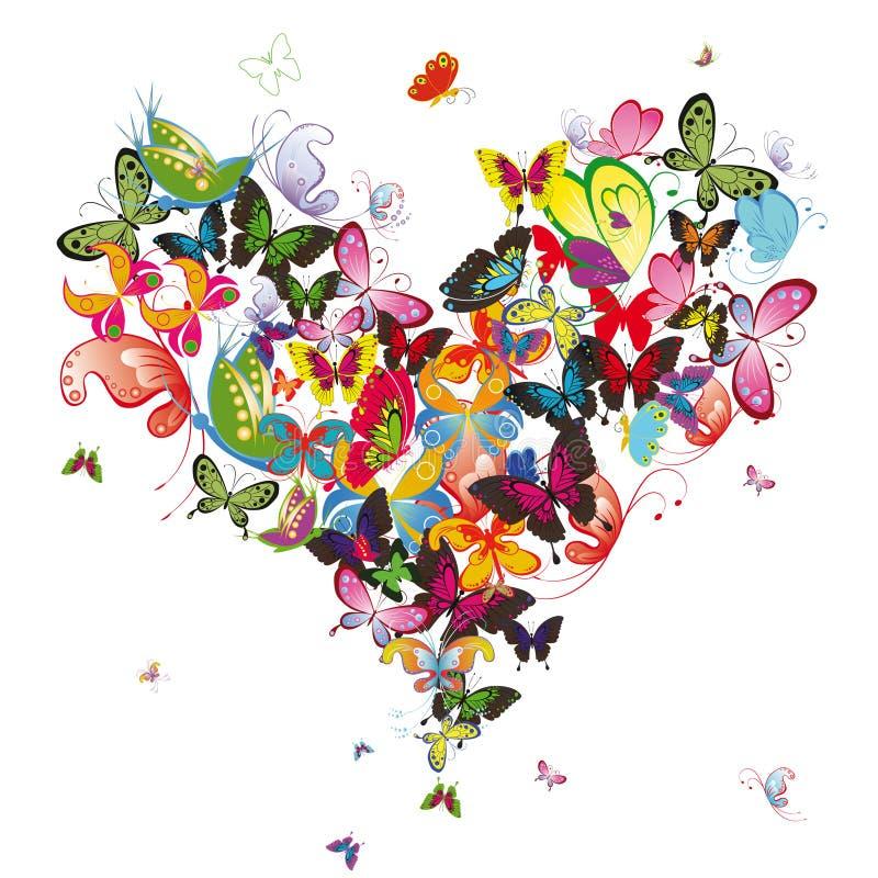 Coração da borboleta ilustração do vetor