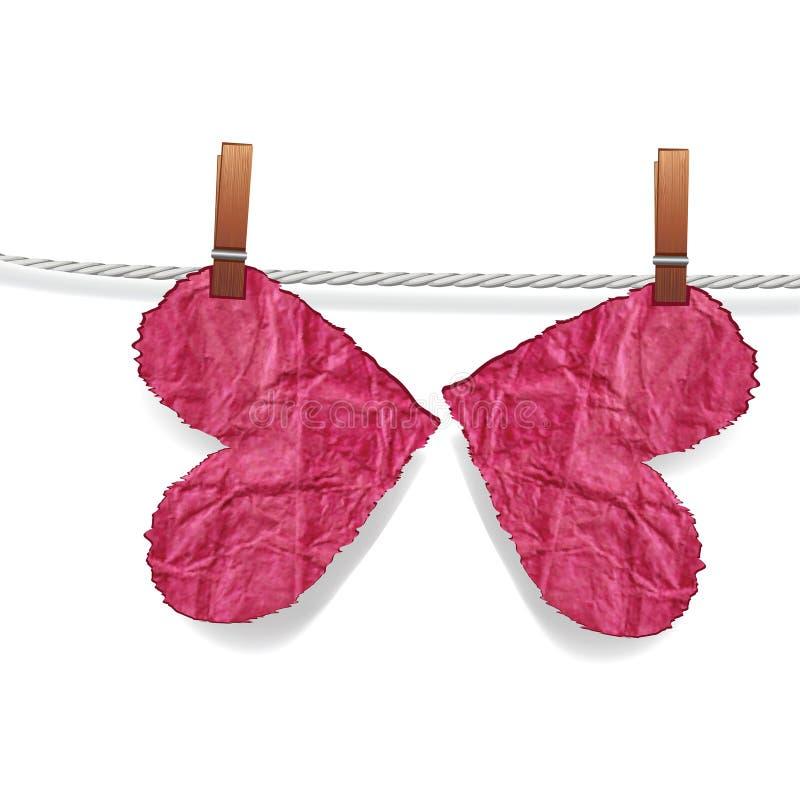 Coração da borboleta, coração áspero amarrotado ilustração royalty free