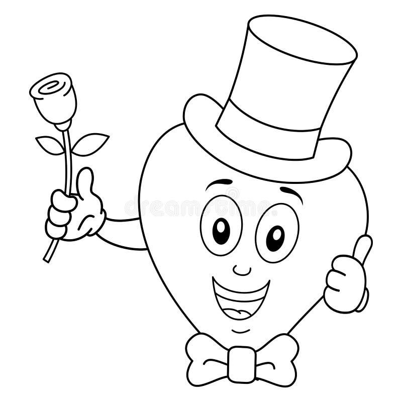 Coração da coloração com laço & Rosa do chapéu alto ilustração royalty free