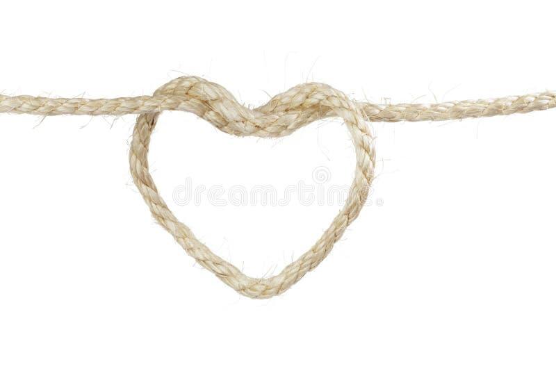 Coração da corda do sisal foto de stock