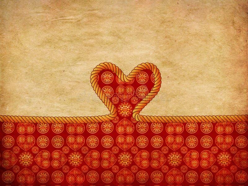 Coração da corda no papel decorativo ilustração stock