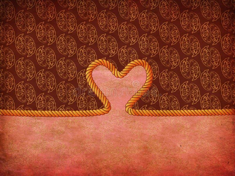Coração da corda no papel decorativo ilustração royalty free