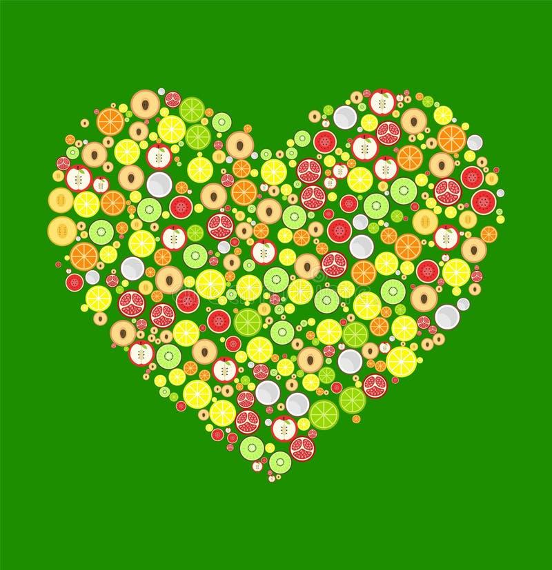 Coração da decoração redonda dos frutos Vetor ilustração do vetor