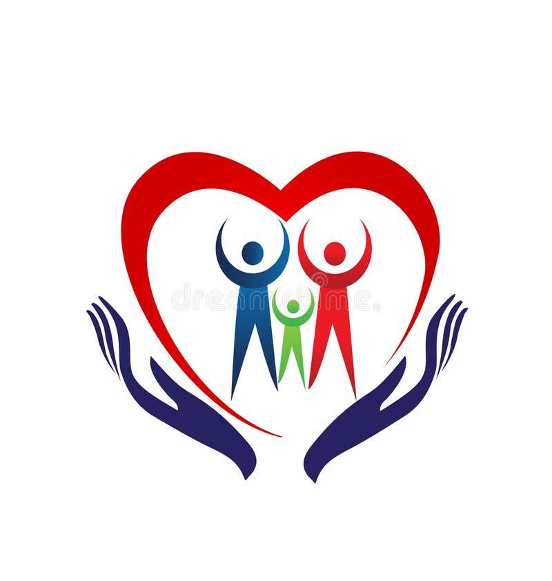 Coração da família que guarda o logotipo do ícone das mãos ilustração do vetor